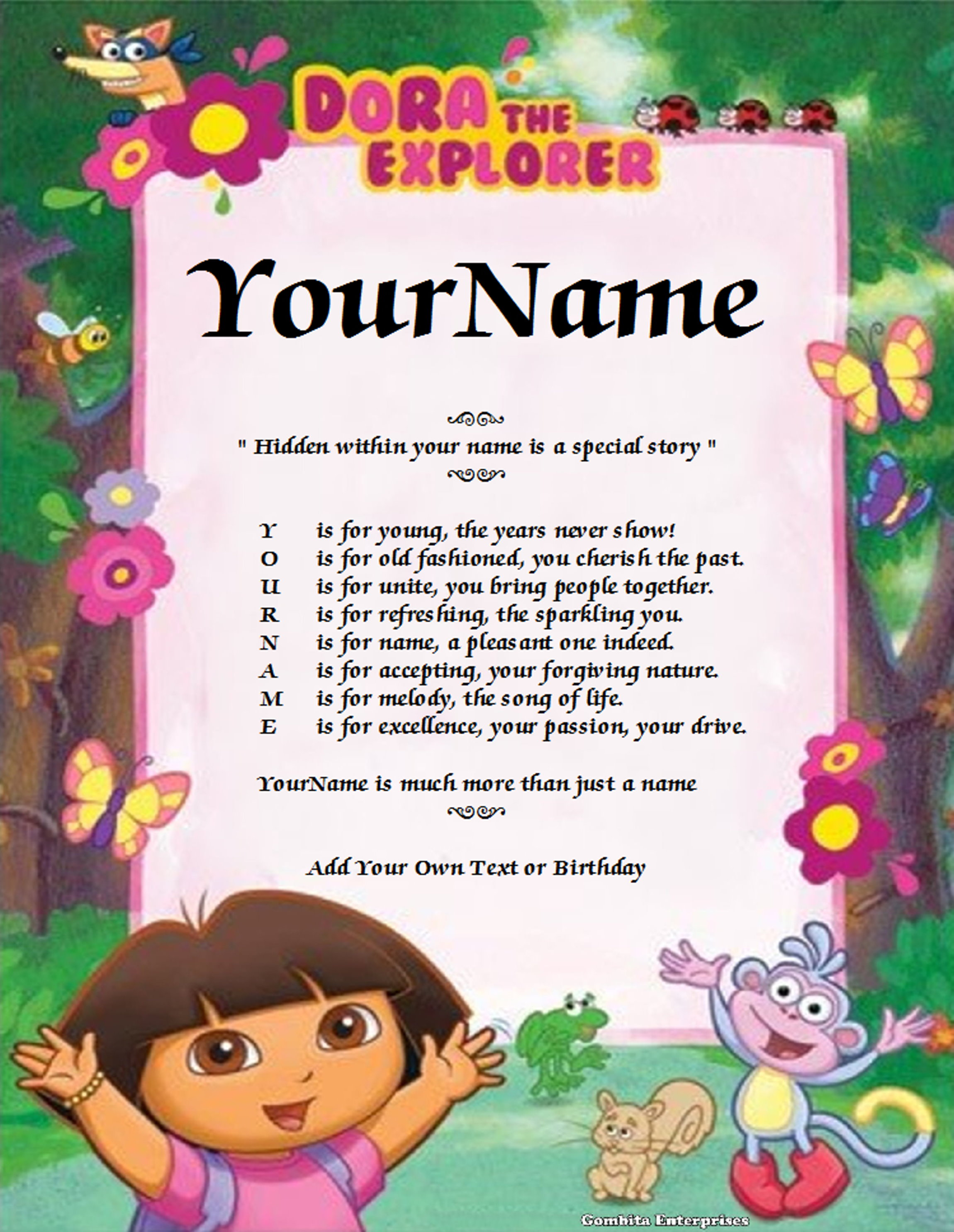 Dora The Explorer Name Poem Story PDF Version