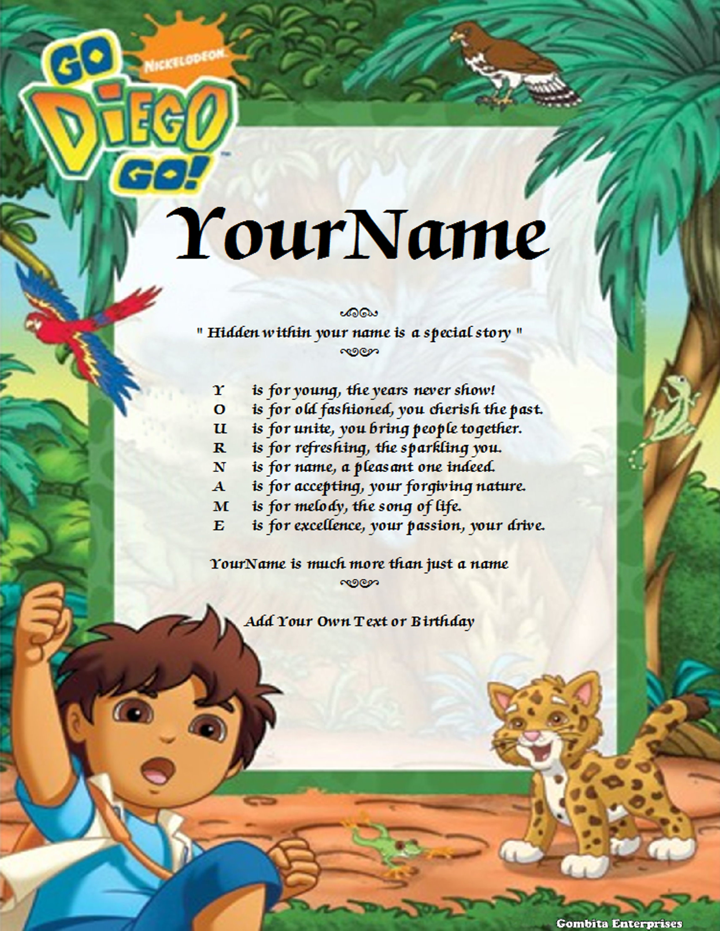 Diego Child Name Poem Story