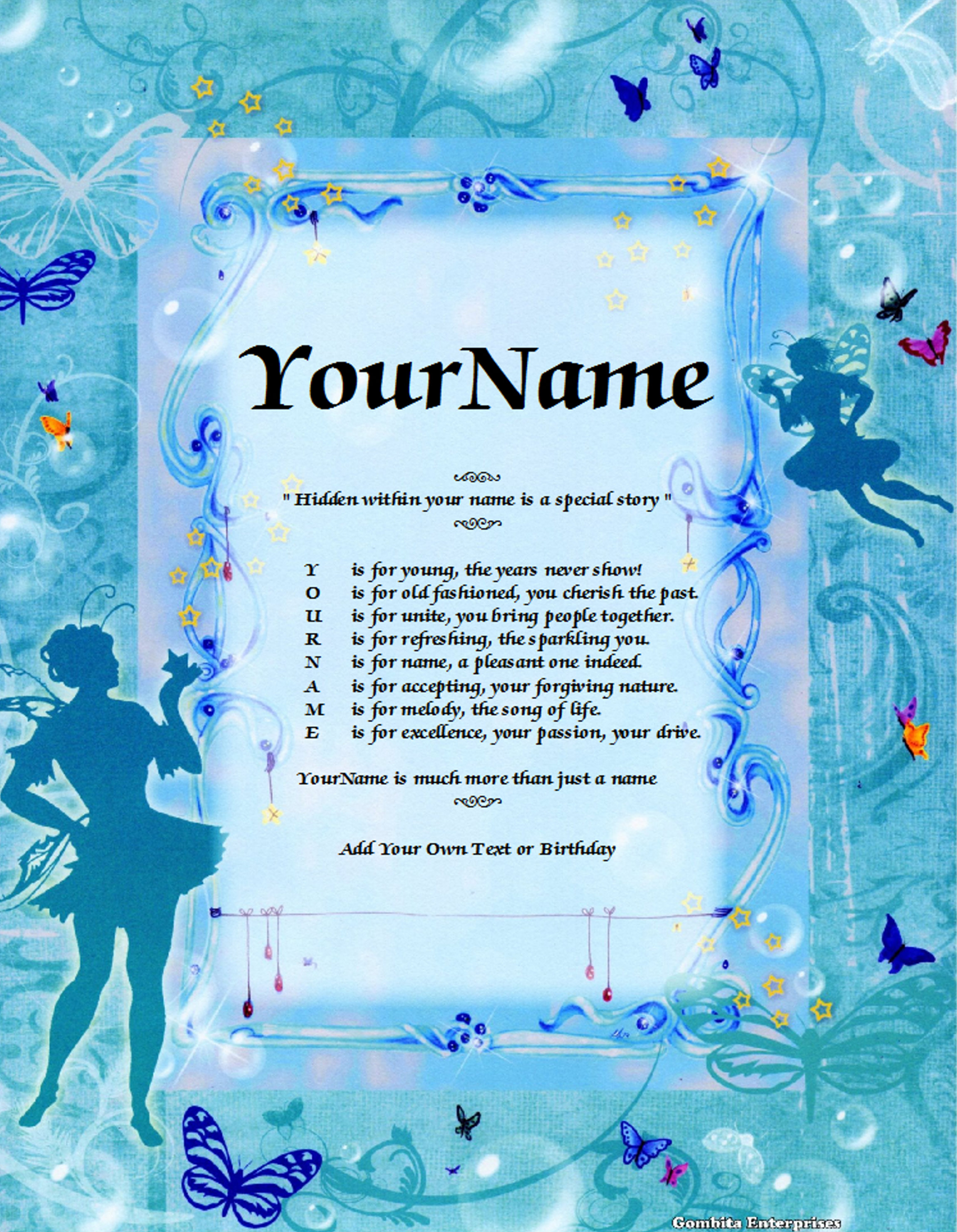 Fairies Child Name Poem Story