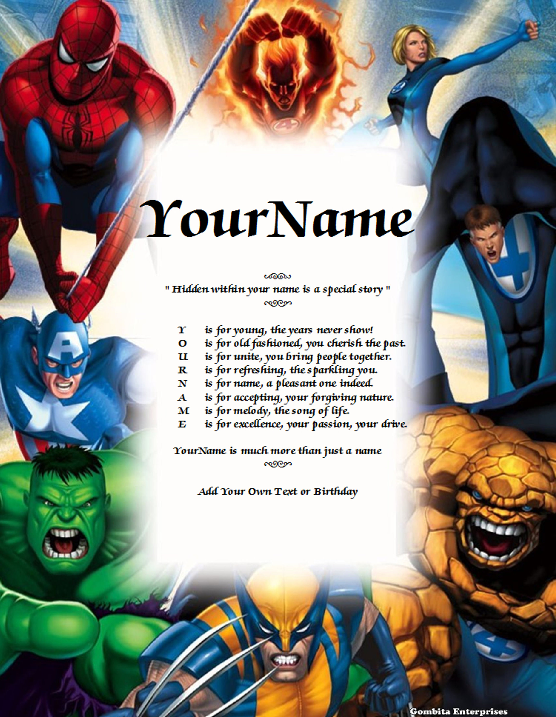 Fantastic Four Name Poem Story PDF Version