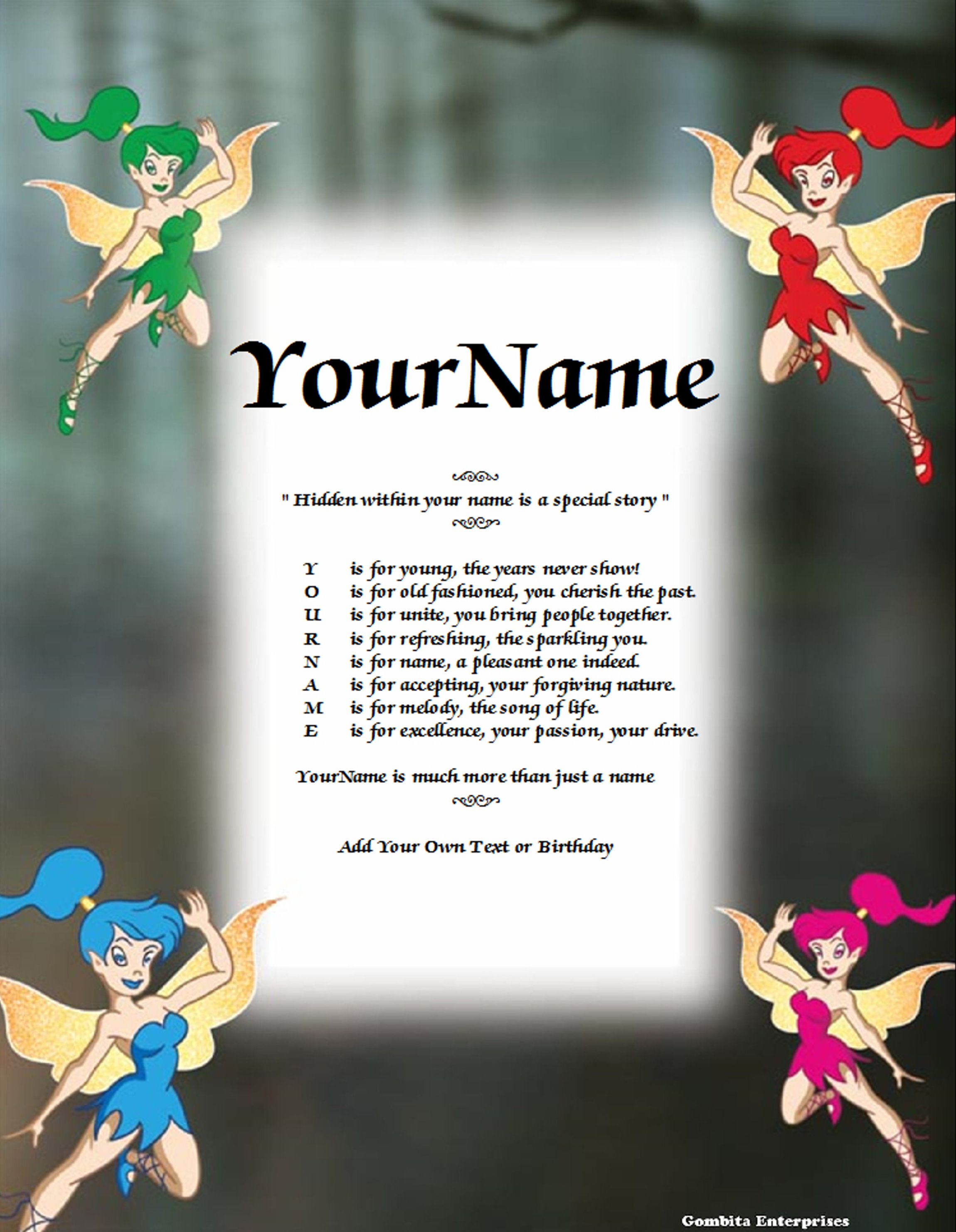 Fairies 3 Name Poem Story PDF Version