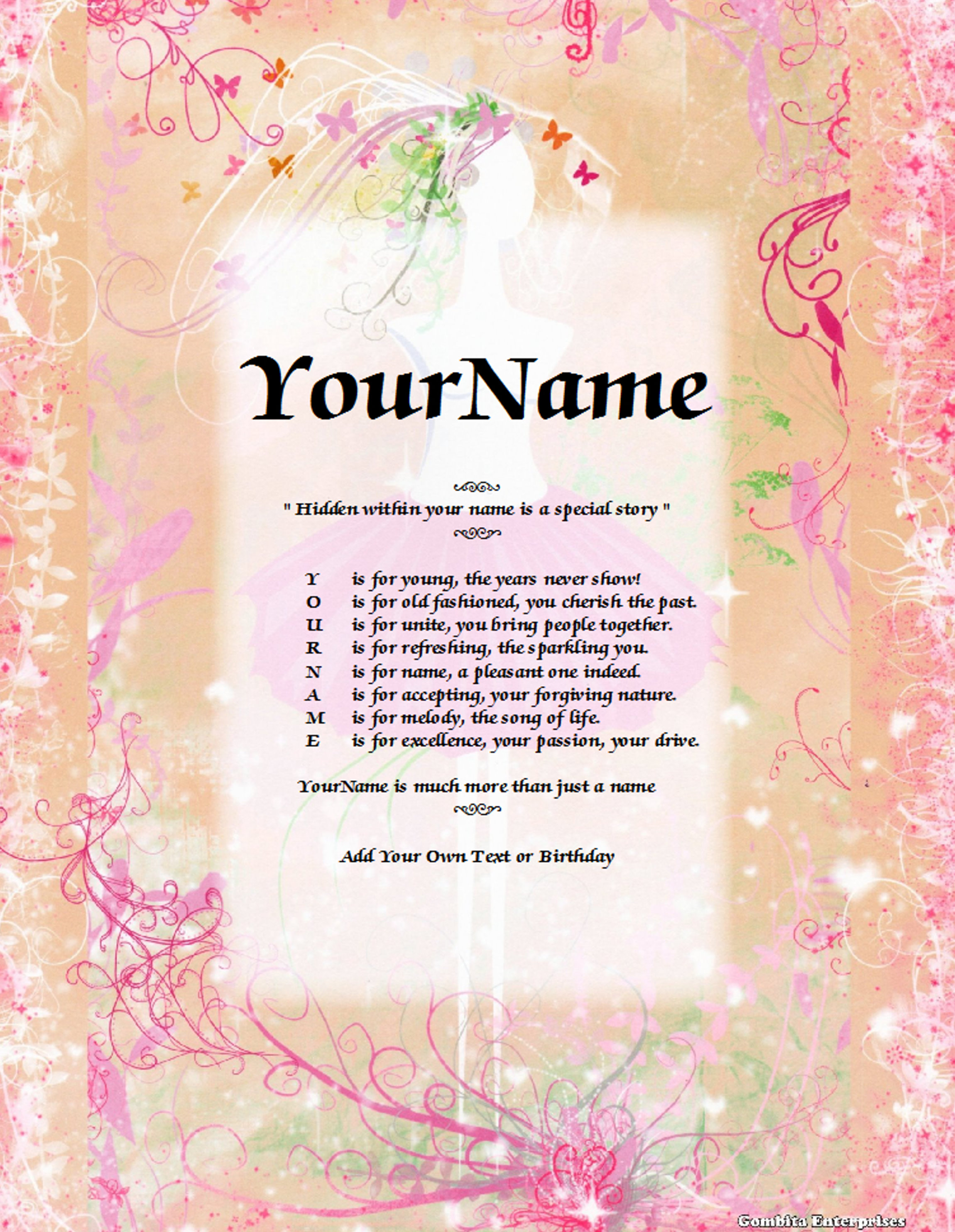 Ballerina Child Name Poem Story