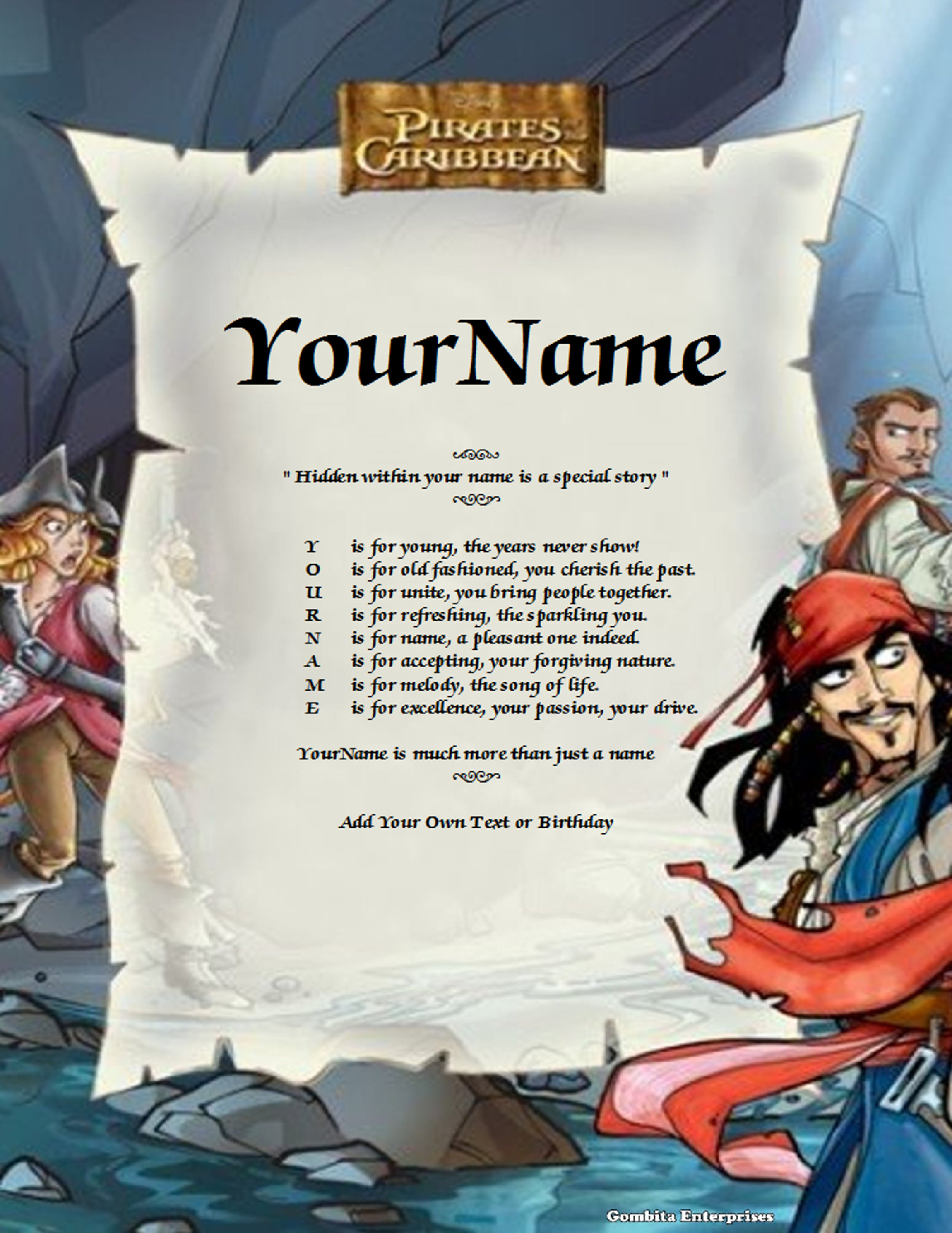 Pirates Of The Caribbean Child Name Poem Story