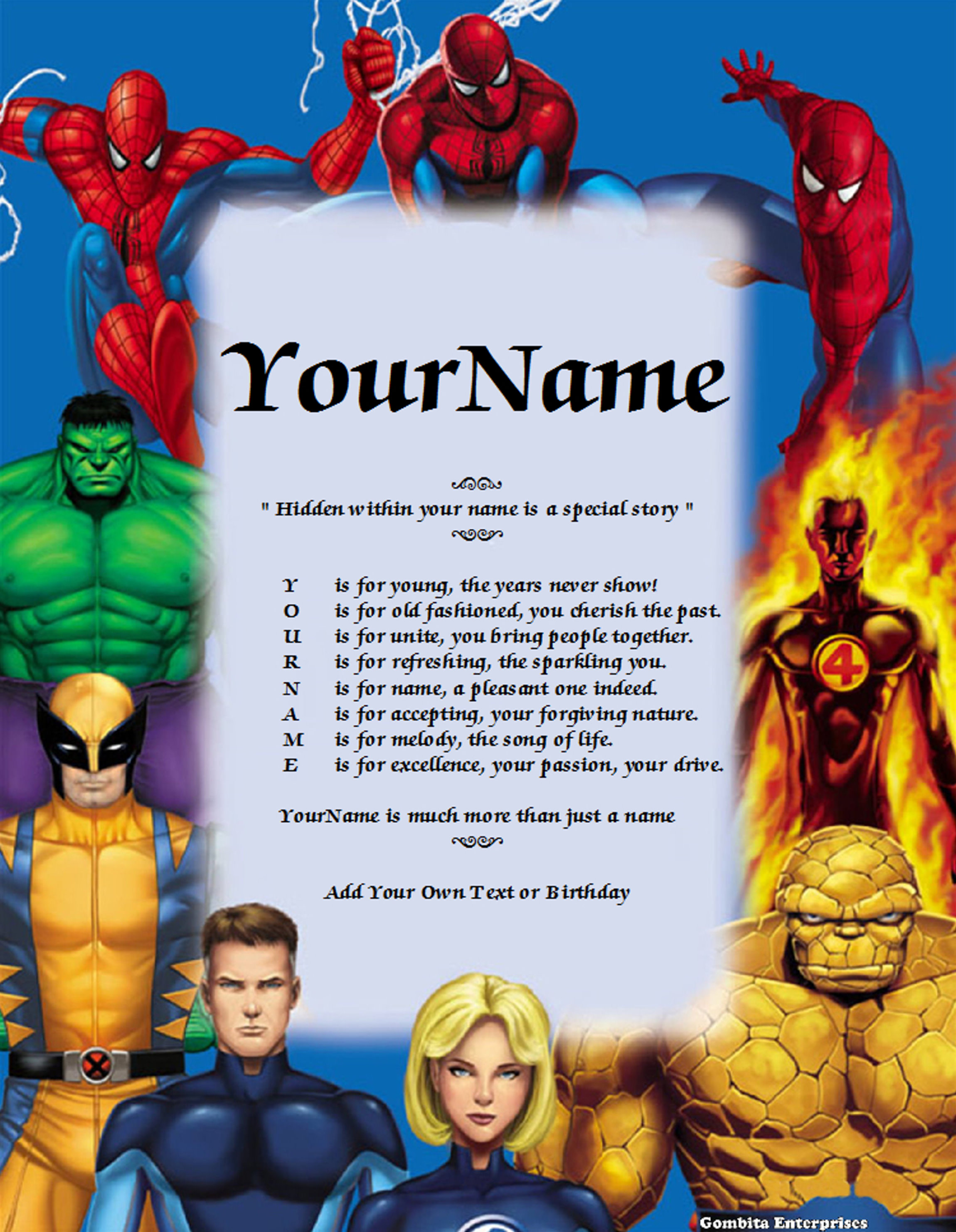 Spiderman Name Poem Story PDF Version