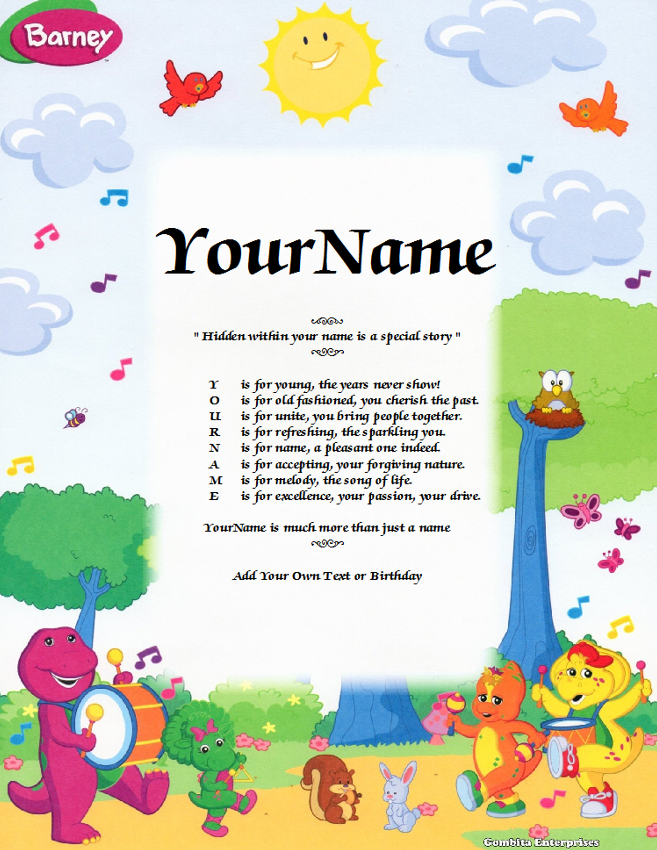 Barney Animal Zoo Child Name Poem Story