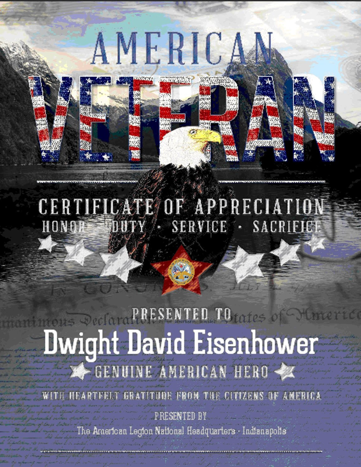 American Veterans Certificate - PDF Download To Email