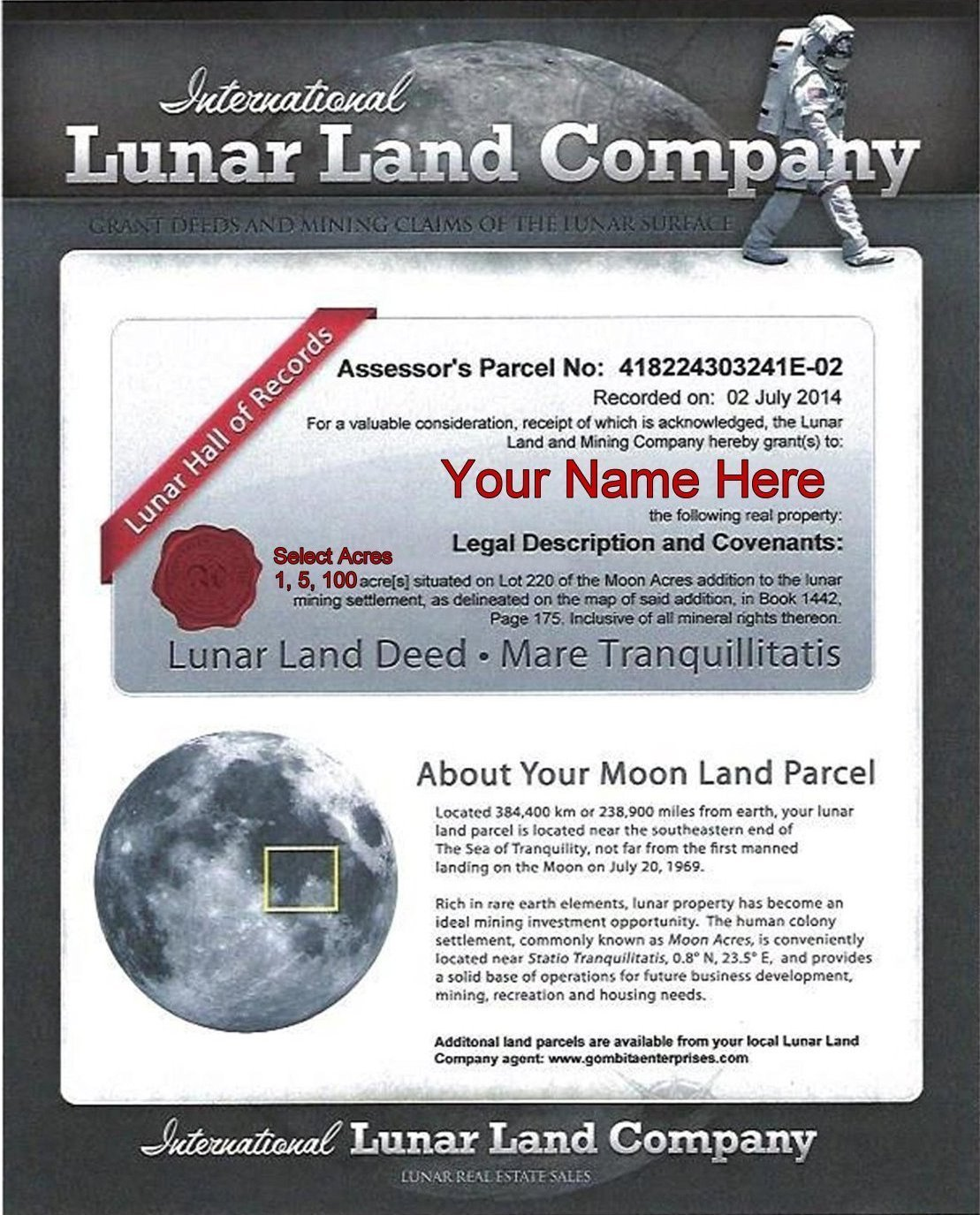 Lunar Land Company - PDF Download To Email
