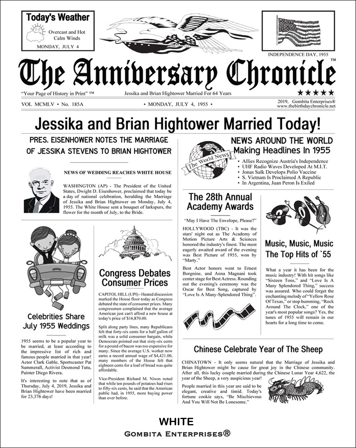 8.5 x 11 Inch By Mail - The Anniversary Chronicle